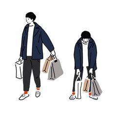 買い出し #illustagram #illust #illustration #illustrator #drawing #drow #drowing #イラスト#イラストレーション#絵#おえかき #買い物 #ファッション #ファッションイラスト#ファッションコーデ #メンズファッション#コート#冬服#シンプルコーデ#coat Simple Illustration, Illustration Sketches, Illustrations, Black And White Doodle, Easy Drawings, Line Art, Chibi, Namjoon, Design