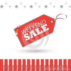 Weekend Sale inscription poster. Holiday Sale background with Red Price Tag, ribbon, stars isolated on abstract background. Modern Winter, Black Friday, Patriotic day, Shopping, gift card, voucher. Advertising, Promotion, Marketing Vector illustration. Christmas Sale banner.