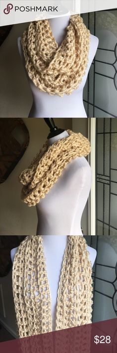 Cream Handmade Knit Infinity Scarf Handmade scarf made from Chunky thick cream yarn. Super soft and warm! Accessories Scarves & Wraps