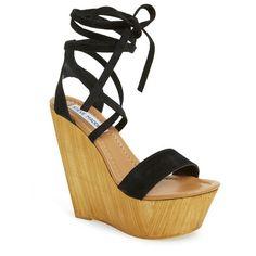 "Steve Madden 'Plmbeach' Platform Wedge Sandal, 5"" heel ($100) ❤ liked on Polyvore featuring shoes, sandals, black suede, black high heel shoes, high heel sandals, suede platform sandals, black high heel sandals and platform shoes"