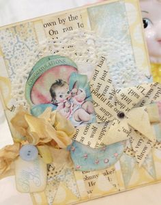 Baby Congratulations Card Blank Baby Card Handmade by IndigoWings