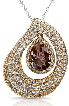 18k Rose Gold Pear Shaped Brown Diamond Rustic Pendant