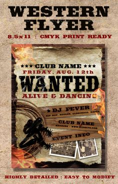 Western Poster Template 20 Creative Western Flyer Templates Psd Designs Free, 18 Western Wanted Poster Templates Free Printable Sample, 29 Free Wanted Poster Templates Fbi And Old West, Templates Printable Free, Print Templates, Flyer Template, Old West Saloon, Flyer Printing, Party Flyer, Tree Designs, Christmas Design, Page Layout