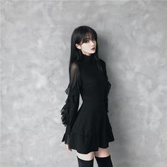 2019 New arrival women Spring Autumn Gothic Punk Mini dress High quality Long sleeve sexy Black dress Fashion dresses Female Cute Fashion, Look Fashion, Girl Fashion, Fashion Dresses, 50 Fashion, Fashion Styles, Gothic Mode, Gothic Lolita, Goth Dress