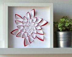 ALOE - Tableau en papier découpé inspiration aloe, idéal pour une déco graphique, moderne, en relief, cadeau personnalisé