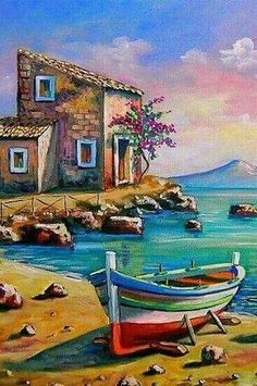 Pictures To Paint, Art Pictures, Landscape Art, Landscape Paintings, Boat Art, Boat Painting, Acrylic Art, Beautiful Paintings, Watercolor Paintings