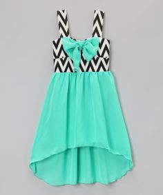 Another great find on #zulily! Mint Bow Zigzag Hi-Low Dress - Toddler & Girls by Just Kids #zulilyfinds