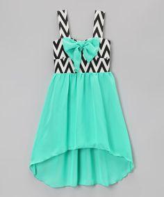 Look at this #zulilyfind! Mint Bow Zigzag Hi-Low Dress - Toddler & Girls by Just Kids #zulilyfinds