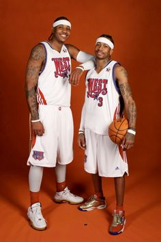 Carmelo Anthony and Allen Iverson at the 2008 NBA All-Star Game from New Orleans, LA