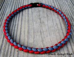 Hand Braided Paracord Sports Necklace Grey and Red Team Colors Baseball FootBall