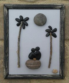 """Pebble Art (couple sitting on rock under palm trees and moon) in reclaimed 8x10 """"open"""" wood frame"""