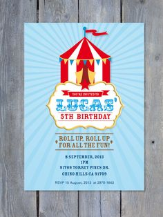 CIRCUS Invitation for Birthday Party by Sweet Scarlet Designs