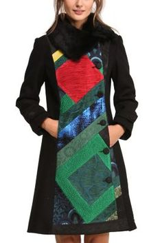 Desigual women's Petit Caprice coat. Jacquard coat with a detachable collar. The colors in the middle of the coat add personality and are combined with shiny sections and diamonds.