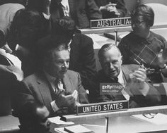 Henry Cabot Lodge Jr. (L) and Walter S. Robertson during session opening debate in General Assembly on resolution to deplore Tibetan events.