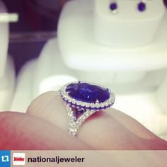 Oval sapphire and diamond ring, repost from our friends at @nationaljeweler