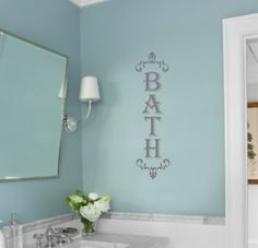 Wall Decal-BATH with scrolls-Vinyl Wall Decal  by landbgraphics