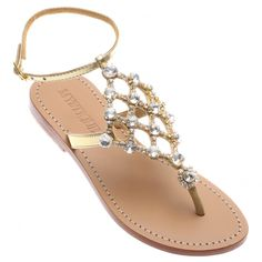 58cdb081e Jeweled   Embellished Flat Leather Women s Sandals