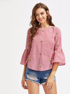 Shop V Cut Tie Back Bell Sleeve Daisy Embroidered Checkered Top online. SheIn offers V Cut Tie Back Bell Sleeve Daisy Embroidered Checkered Top & more to fit your fashionable needs. Blouse Designs, Kurta Designs, Casual Outfits, Fashion Outfits, Short Tops, Designer Kurtis, Corsage, Nice Tops, Cool Shirts