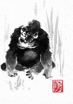 #Gorilla : Aquarelle sur papier 250gr / Watercolor on paper 250gr 10.5 x 15 cm / 4.13x 5.9 in