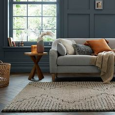 Narok Berber Rug   Dunelm Grey And Orange Living Room, Living Room Grey, Small Living Rooms, Rugs In Living Room, Living Room Decor, Room Rugs, Living Room Colors, Living Room Designs, Orange Sofa