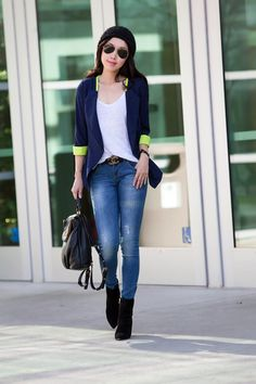 2/3 Sleeves blue blazer, ANINE BING Distressed Double Zipper Skinny in Vintage Wash, Marc by Marc Jacobs 'Classic Q - Mariska' Backpack, Alexander Wang Sunniva Suede Bootie in Black, asos beanie, Ray-Ban sunglasses original, casual style