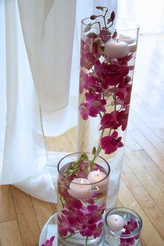 Deity Brooklyn Wedding Venue- Fuchsia Floating Orchid and Candle Arrangement #brooklynwedding #weddingvenue #weddingflowers