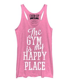This Chin Up Apparel Pink Heather 'Happy Place' Racerback Tank by Chin Up Apparel is perfect! #zulilyfinds