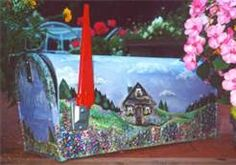 hand painted mailboxes - Bing Images Painted Mailboxes, Snail Mail, Bing Images, Hand Painted, Gift Ideas, Crafts, Painted Boxes, Manualidades, Post Office