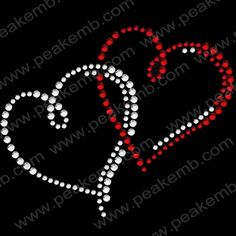 Bling Heart Rhinestone Heat Transfers For Valentines Day Wholesale 30pc/lot