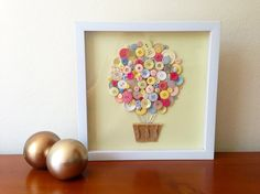 Button Art Pastel 3D Art Hot Air Balloon Nursery by quebee, $30.00