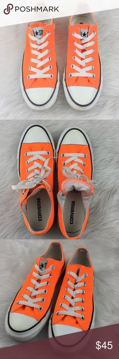 Converse Neon Orange All Star Chucks Converse neon orange. Size 7 in women's. EUC without box. Only worn several times.❌No trades ❌ Modeling ❌No PayPal or off Posh transactions ❤️ I Bundles ❤️Reasonable Offers PLEASE ❤️ Bundle & SAVE❗️❗️ Converse Shoes Sneakers
