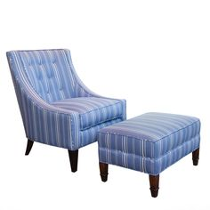 Blue and White Upholstered Lounge Chair and Ottoman | From a unique collection of antique and modern lounge chairs at https://www.1stdibs.com/furniture/seating/lounge-chairs/