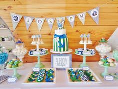 Little Big Company | The Blog: Chevron Blue and Green Nautical Themed Party by Cakes by Joanne Charmand