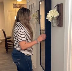 Grab a $7 full length mirror from Walmart this brilliant idea! Perfect for an entryway, bedroom -- and more! Storage Mirror, Diy Storage, Full Length Mirror Entryway, Full Length Mirror With Storage, Storage Ideas, Bedroom Storage, Diy File Cabinet, Wicker Laundry Hamper, Concrete Bird Bath