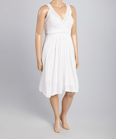 This White Lace-Accent Surplice Dress - Plus is perfect! #zulilyfinds