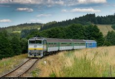 754 045 3 Ceske Drahy CD 754 at Horice na Sumave, Czech Republic by Jaroslav Dvorak Czech Republic, Train, Trains, Bohemia, Strollers