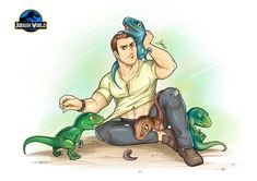 Adorable Jurassic World art with Owen and the Raptors. Jurassic World Raptors, Jurassic World 2015, Jurassic Movies, Manga Anime, Falling Kingdoms, Dinosaur Art, Fandoms, T Rex, I Movie
