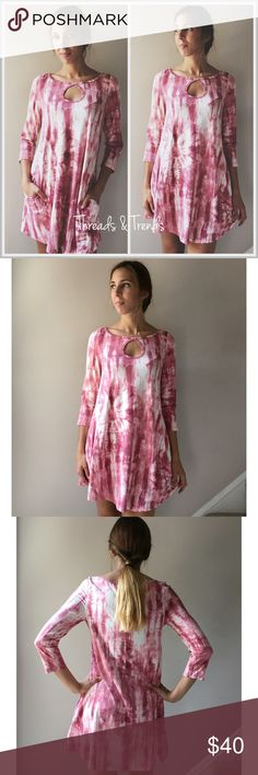 Fun and Flirty Tie Dye Shift Dress flirty blush pink tunic dress featuring a key hole chest detail and fun mixtures of pink and white tie dye. Features front side pockets. Light and breathable polyester and spandex blend. Sizes S,M,L.                                                                             S Bust 38 Length 33  M  Bust 40 Length 35  L Bust 42 Length 37 striped Dresses