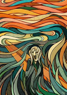The Scream painting, an Expressionist work by Edvard Munch, is a popular subject for contemporary artists to explore in their art. Popular Paintings, Most Famous Paintings, Classic Paintings, Famous Artists, Edvard Munch, Art And Illustration, Inspiration Art, Art Inspo, Le Cri Munch