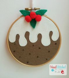 Christmas Pudding Embroidery Hoop Decoration by HandstitchedbyJade