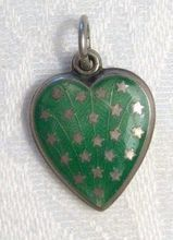 Sterling Green Enameled Stars Puffy Heart Charm - 'Geo P.' sold 90.00