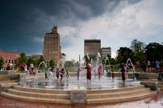 Asheville, NC. Photo of the fountain in Pack Square Park. Today would be a great day to play in the water!