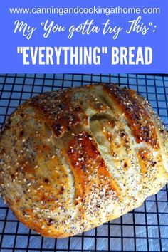 We love quot;everything quot; bagels crackers why not bake some bread using quot;everything topping quot; this easy quot;no knead dutch oven bread quot; is amazing with this season mix give it a try! easy no knead dutch oven crusty bread Bagels, Artisan Bread Recipes, Bake Bread Recipes, Healthy Bread Recipes, Easy Bread Recipe, Breakfast Bread Recipes, Seasoned Bread Recipe, Bagel Bread Machine Recipe, Whole Wheat Italian Bread Recipe