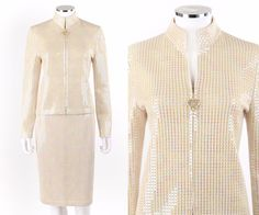 ST JOHN Evening 2 Pc Beige Santana Knit Paillette Jacket Skirt Suit Set Size 6 #StJohn #SkirtSuit