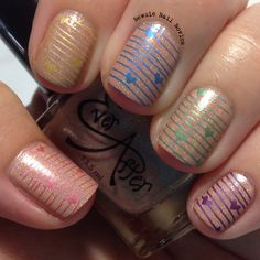 Rainbow hearts stamping over Ever After Nude Popsicle