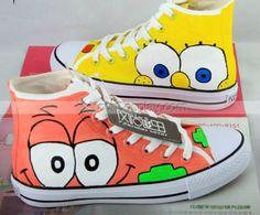 High Top SpongeBob SquarePants Yellow Orange Hand Painted Shoes, SpongeBob Shoes, Cosplay Hand Drawing Shoes