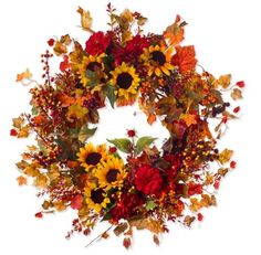 Sunflower Berry Fall Wreath (Silk)