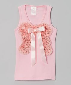 Take a look at this Pink Chiffon Bow Tank - Infant, Toddler & Girls by Bella Fleur on #zulily today!