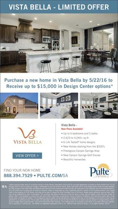 New Homes for Sale in San Antonio, Texas  Receive Up to $15K in Options at Vista Bella Through 5/22!  New Plans Available  |  Up to 6 bedrooms and 5 baths  http://www.pulte.com/communities/TX/san-antonio/VistaBella/209191/index1.aspx#.VzyOxjjwuM9