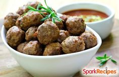 Lightened-Up Meatballs. Perfect #party #appetizers! | via @SparkPeople #healthy #recipe #meatballs